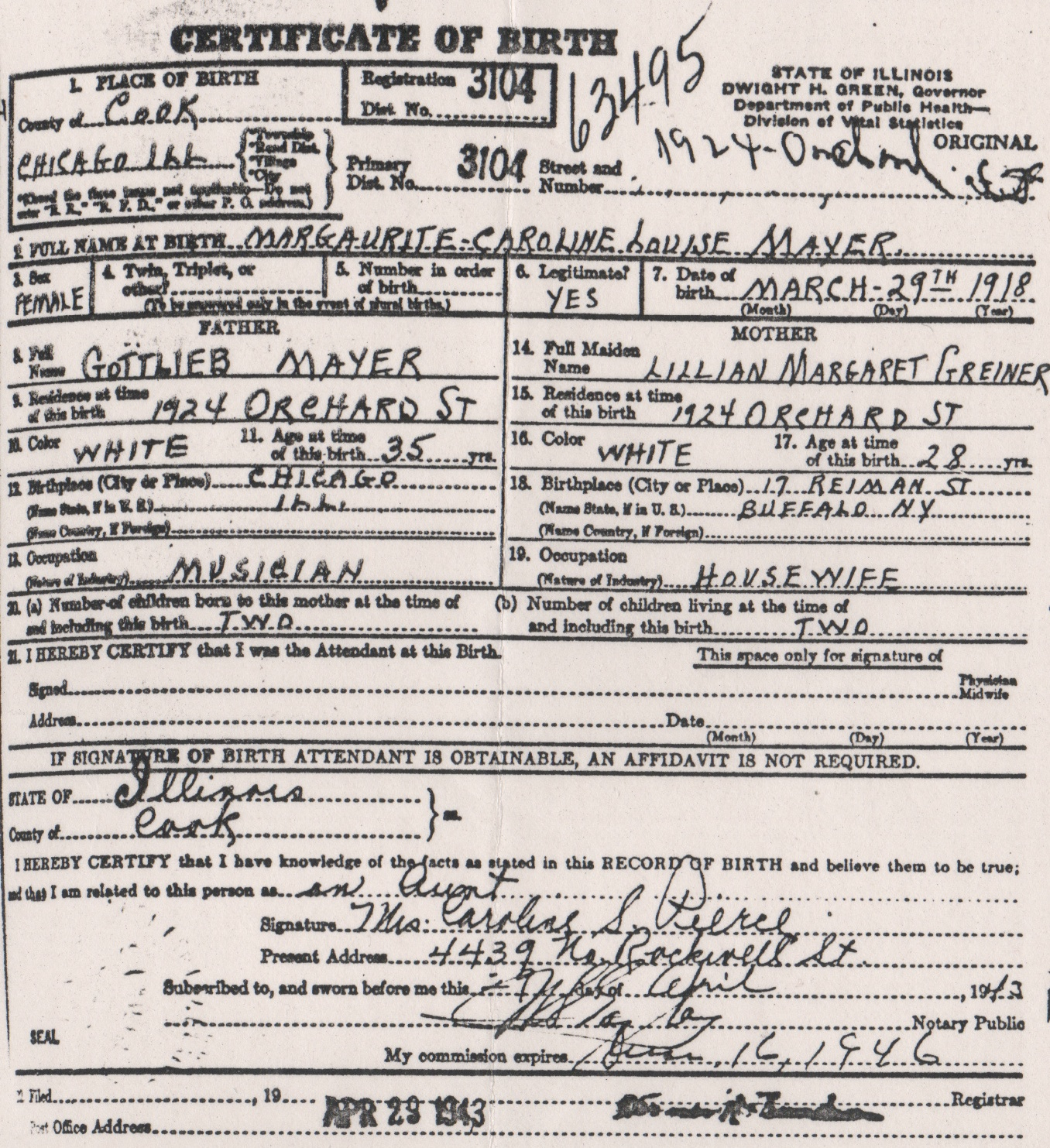 Steen frost family documents 1918 birth certificate aiddatafo Choice Image